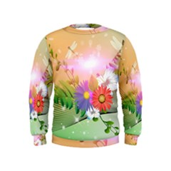 Wonderful Colorful Flowers With Dragonflies Boys  Sweatshirts