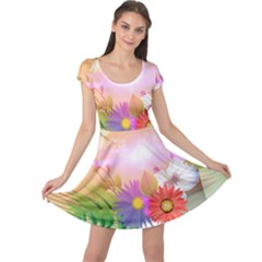 Wonderful Colorful Flowers With Dragonflies Cap Sleeve Dresses
