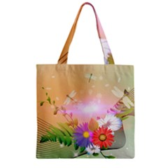 Wonderful Colorful Flowers With Dragonflies Zipper Grocery Tote Bags