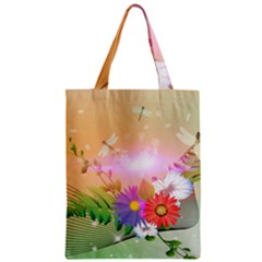 Wonderful Colorful Flowers With Dragonflies Zipper Classic Tote Bags