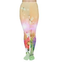 Wonderful Colorful Flowers With Dragonflies Women s Tights