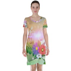 Wonderful Colorful Flowers With Dragonflies Short Sleeve Nightdresses