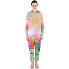 Wonderful Colorful Flowers With Dragonflies Hooded Jumpsuit (ladies)