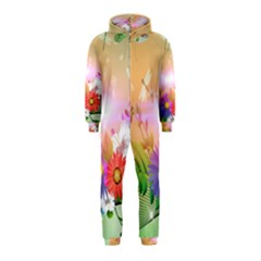 Wonderful Colorful Flowers With Dragonflies Hooded Jumpsuit (Kids)