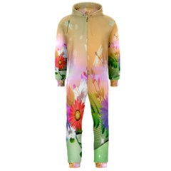 Wonderful Colorful Flowers With Dragonflies Hooded Jumpsuit (Men)