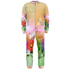 Wonderful Colorful Flowers With Dragonflies OnePiece Jumpsuit (Men)