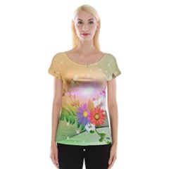 Wonderful Colorful Flowers With Dragonflies Women s Cap Sleeve Top