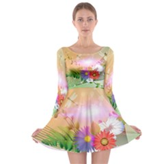 Wonderful Colorful Flowers With Dragonflies Long Sleeve Skater Dress