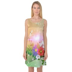 Wonderful Colorful Flowers With Dragonflies Sleeveless Satin Nightdresses