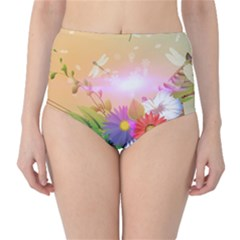 Wonderful Colorful Flowers With Dragonflies High Waist Bikini Bottoms