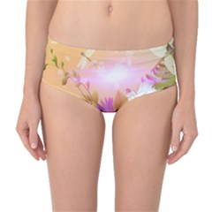 Wonderful Colorful Flowers With Dragonflies Mid-Waist Bikini Bottoms