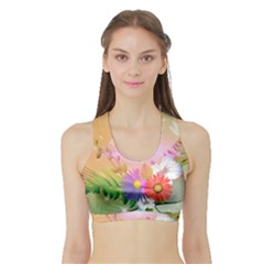 Wonderful Colorful Flowers With Dragonflies Women s Sports Bra with Border