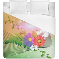 Wonderful Colorful Flowers With Dragonflies Duvet Cover Single Side (kingsize)