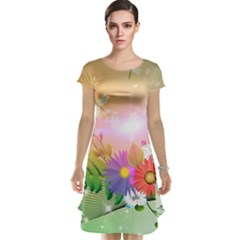 Wonderful Colorful Flowers With Dragonflies Cap Sleeve Nightdresses