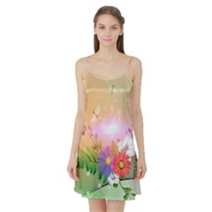 Wonderful Colorful Flowers With Dragonflies Satin Night Slip
