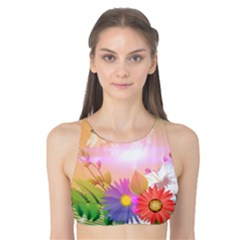 Wonderful Colorful Flowers With Dragonflies Tank Bikini Top