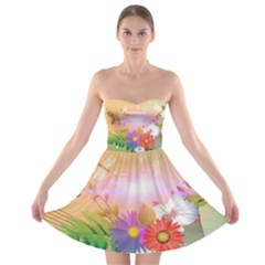 Wonderful Colorful Flowers With Dragonflies Strapless Bra Top Dress