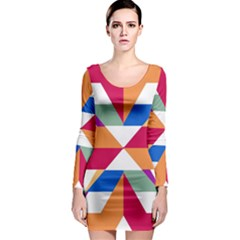 Shapes In Triangles Long Sleeve Bodycon Dress