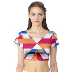 Shapes in triangles Short Sleeve Crop Top