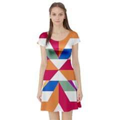 Shapes in triangles Short Sleeve Skater Dress