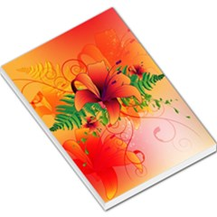 Awesome Red Flowers With Leaves Large Memo Pads