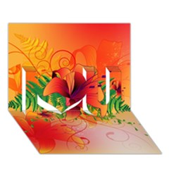 Awesome Red Flowers With Leaves I Love You 3D Greeting Card (7x5)