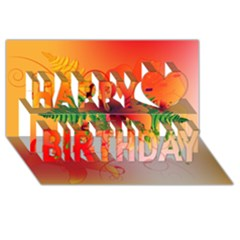 Awesome Red Flowers With Leaves Happy Birthday 3d Greeting Card (8x4)