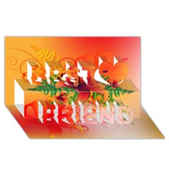Awesome Red Flowers With Leaves Best Friends 3D Greeting Card (8x4)
