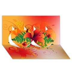 Awesome Red Flowers With Leaves Twin Hearts 3d Greeting Card (8x4)
