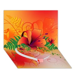 Awesome Red Flowers With Leaves Heart Bottom 3D Greeting Card (7x5)