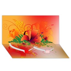 Awesome Red Flowers With Leaves Twin Heart Bottom 3D Greeting Card (8x4)