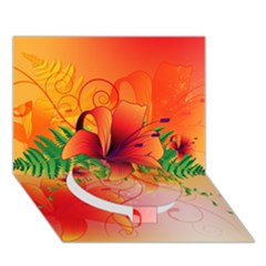 Awesome Red Flowers With Leaves Circle Bottom 3d Greeting Card (7x5)