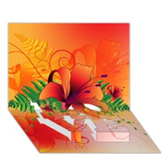 Awesome Red Flowers With Leaves LOVE Bottom 3D Greeting Card (7x5)