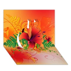 Awesome Red Flowers With Leaves Apple 3D Greeting Card (7x5)