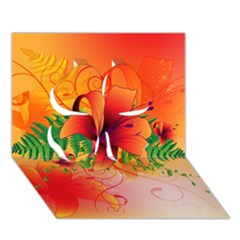 Awesome Red Flowers With Leaves Clover 3D Greeting Card (7x5)