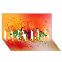 Awesome Red Flowers With Leaves BEST BRO 3D Greeting Card (8x4)