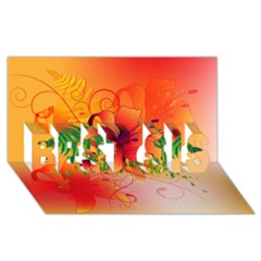 Awesome Red Flowers With Leaves BEST SIS 3D Greeting Card (8x4)
