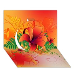 Awesome Red Flowers With Leaves Circle 3d Greeting Card (7x5)