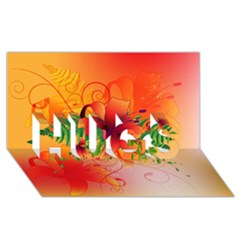 Awesome Red Flowers With Leaves Hugs 3d Greeting Card (8x4)
