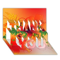 Awesome Red Flowers With Leaves Thank You 3d Greeting Card (7x5)