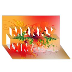 Awesome Red Flowers With Leaves Merry Xmas 3d Greeting Card (8x4)