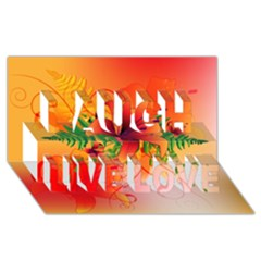 Awesome Red Flowers With Leaves Laugh Live Love 3D Greeting Card (8x4)