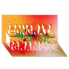 Awesome Red Flowers With Leaves Congrats Graduate 3D Greeting Card (8x4)