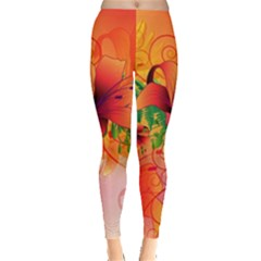 Awesome Red Flowers With Leaves Women s Leggings