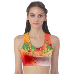 Awesome Red Flowers With Leaves Sports Bra