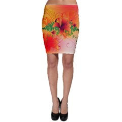Awesome Red Flowers With Leaves Bodycon Skirts