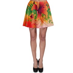 Awesome Red Flowers With Leaves Skater Skirts