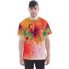 Awesome Red Flowers With Leaves Men s Sport Mesh Tees