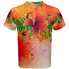 Awesome Red Flowers With Leaves Men s Cotton Tees