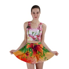 Awesome Red Flowers With Leaves Mini Skirts